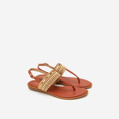 Giày Sandal Quai Ngang Họa Tiết Thổ Cẩm - SDK 0310 - Cam Đậm