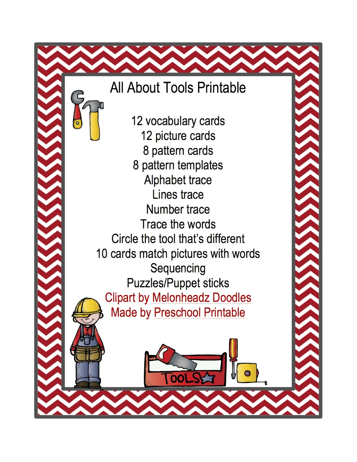 All About Tools Printable Preschool Printables