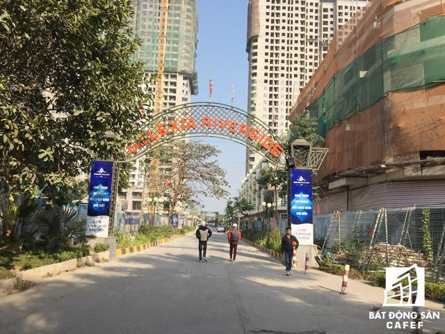 Cổng chính dự án Gelexia Riverside (ảnh chụp tháng 01/2018)