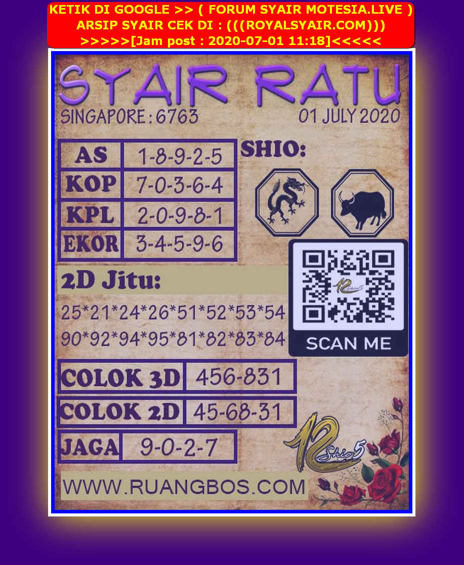 Kode syair Singapore Rabu 1 Juli 2020 148