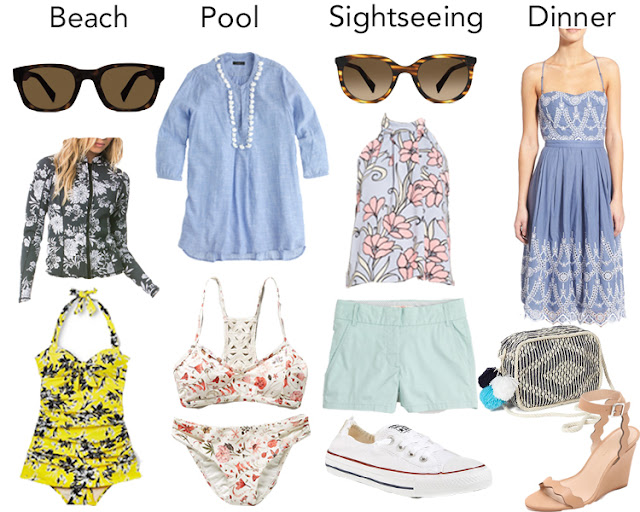 spring break, spring break packing list, warby parker, warby parker sun collective, floral bathing suit, scallop wedge, converse shoreline, j crew tunic, sunglasses, outfit inspiration
