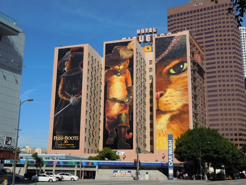 Giant Puss in Boots movie billboards