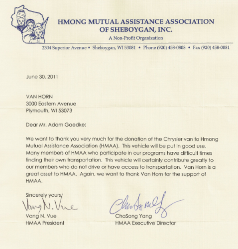 Van Horn Auto Group Blog Thank You Letter From The Hmong