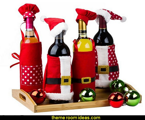 Christmas Wine Decorations  christmas kitchen decorations - Christmas table ware - Christmas mugs  - Christmas table decorations - Christmas glass ware - Holiday decor - Christmas dining - christmas entertaining - Christmas Tablecloth - decorating for Christmas - Santa mugs - Christmas Cookie Cutters  - snowman and reindeer kitchen  accessories - red cardinal kitchen decor
