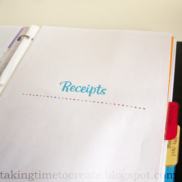 Taking Time To Create: The Household Binder {Part 2