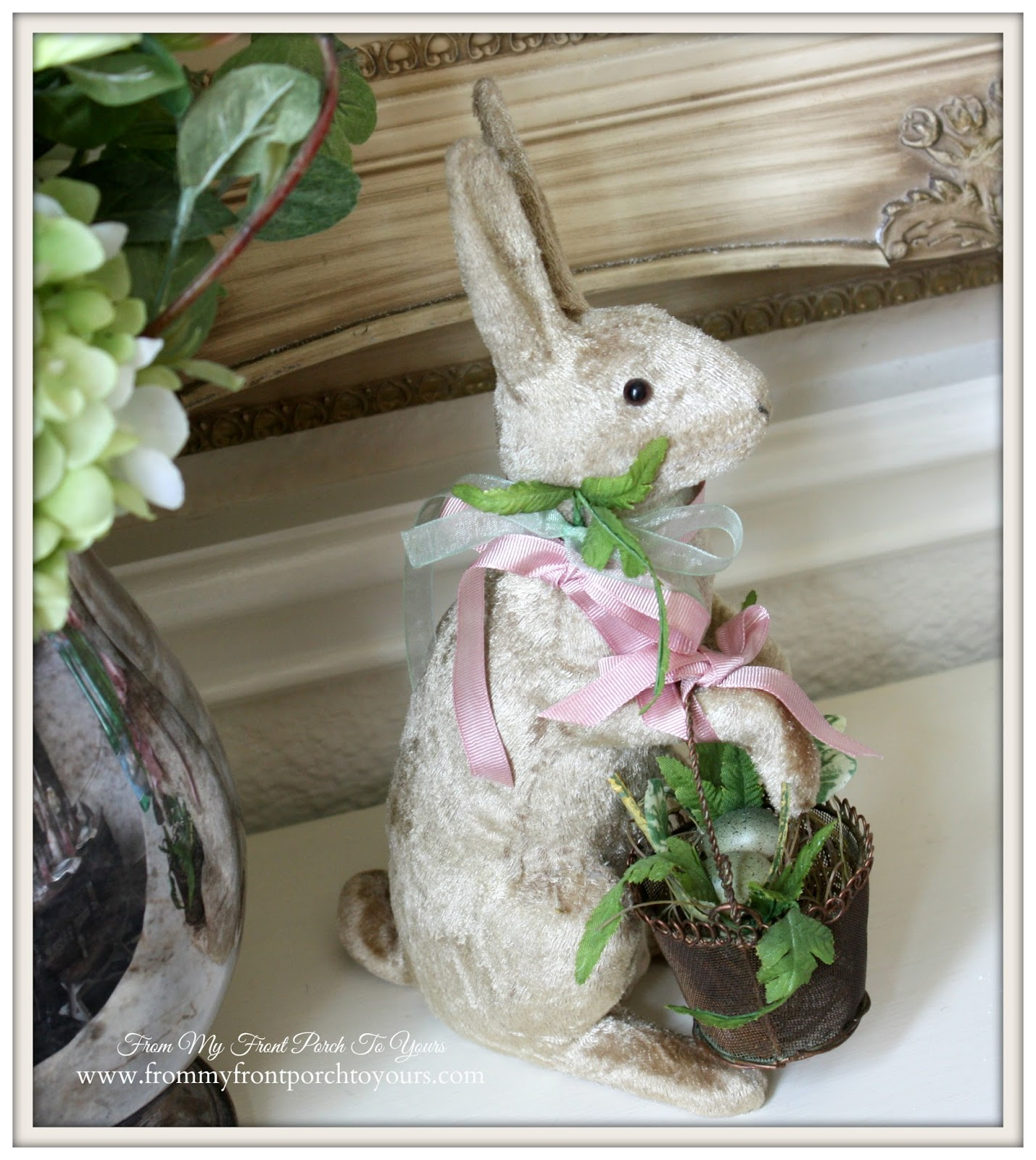 Vintage bunny-French Farmhouse Easter Dining Room-Vignette-Display- From My Front Porch To Yours