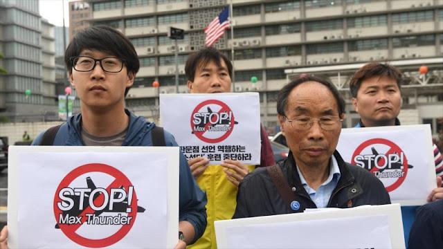 Surcoreanos denuncian maniobras militares de Seúl y Washington
