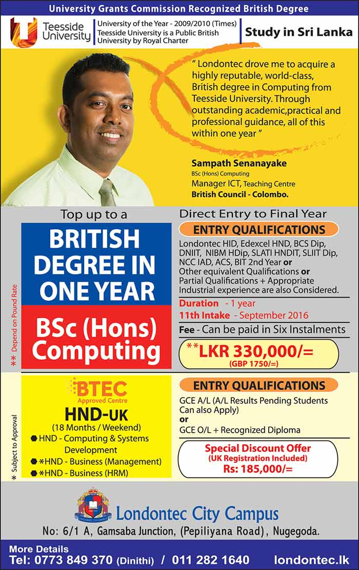 After A/L - Discount Offer - British HND & Degree Programmes