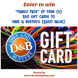 Enter to win a family pack of four $50 gift cards to Dave & Busters. Ends 8/1