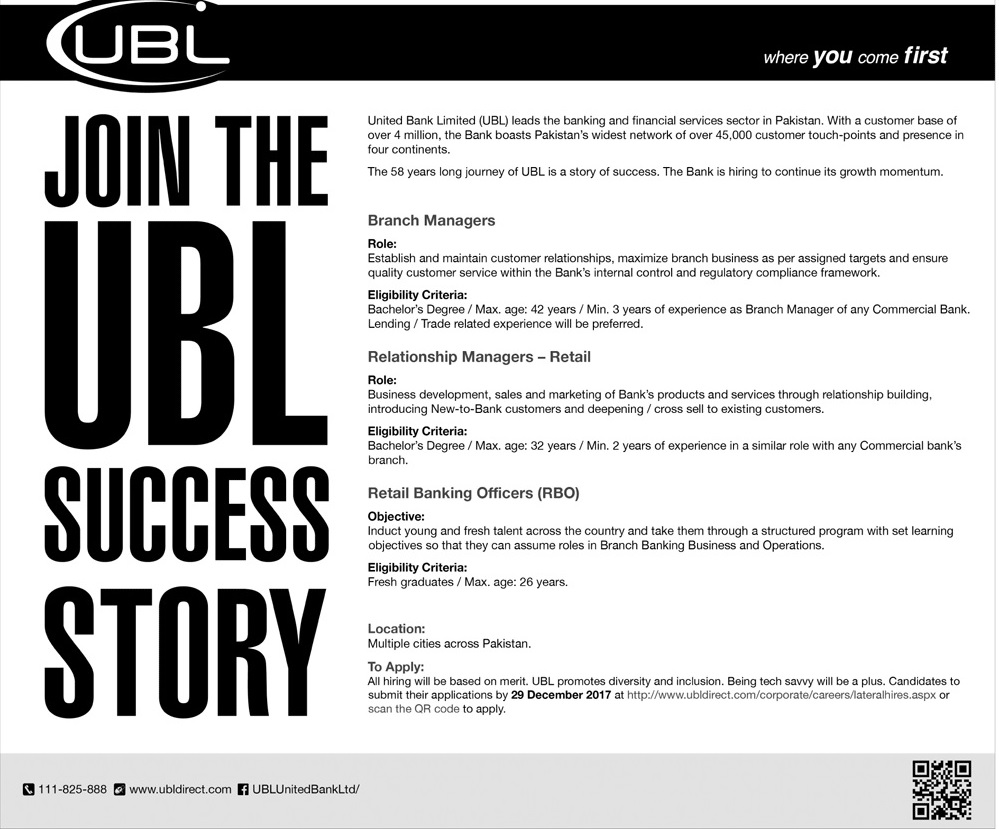 120+ UBL Bank Jobs in Pakistan for Fresh Graduates