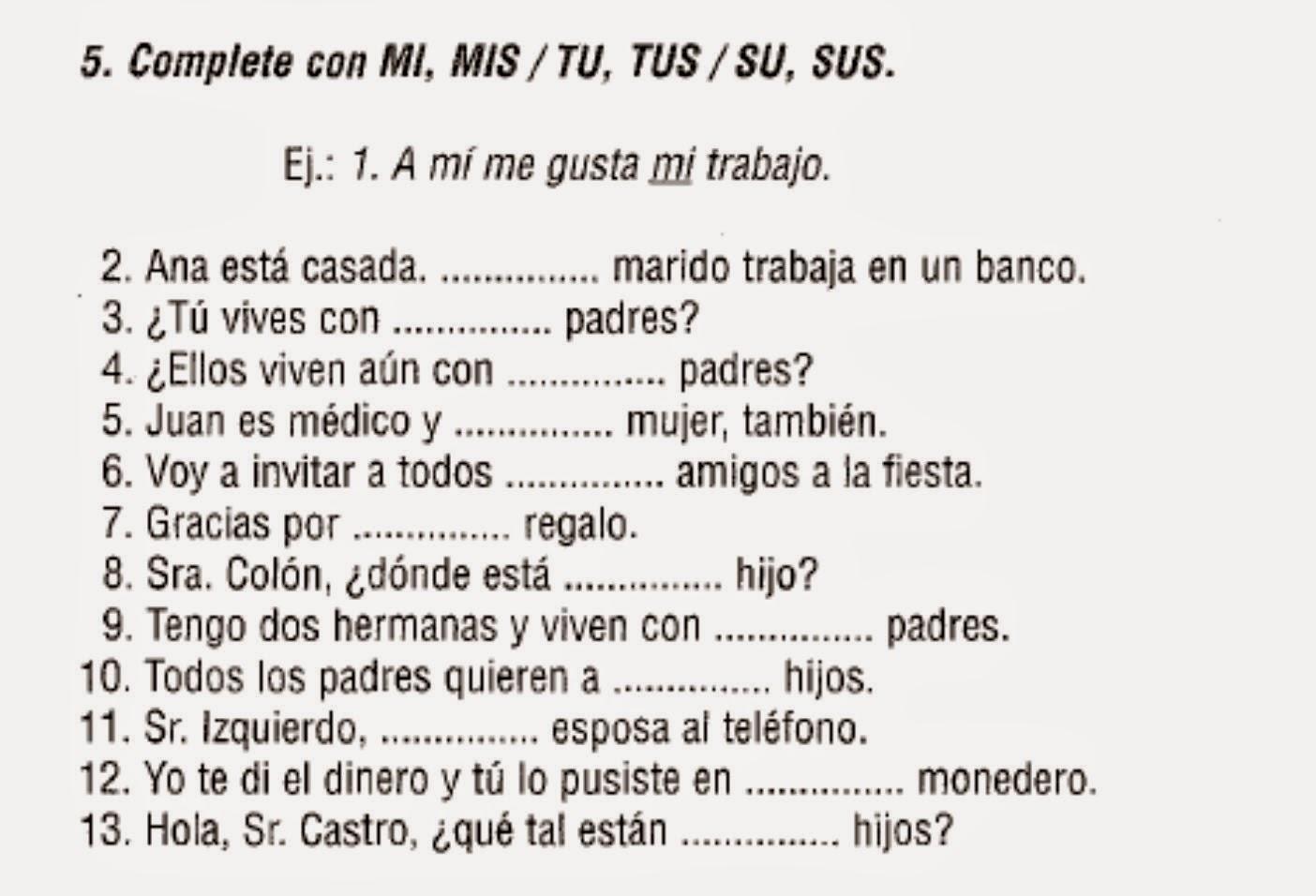 Aprende Espanol Los Posesivos A1