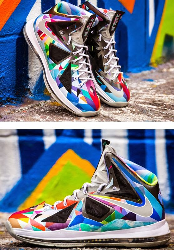 "b05e97e9e7d8 Here is a detailed look at some awesome Nike LeBron 10 ""Shattered Prism"" X  ROM Custom Sneakers"