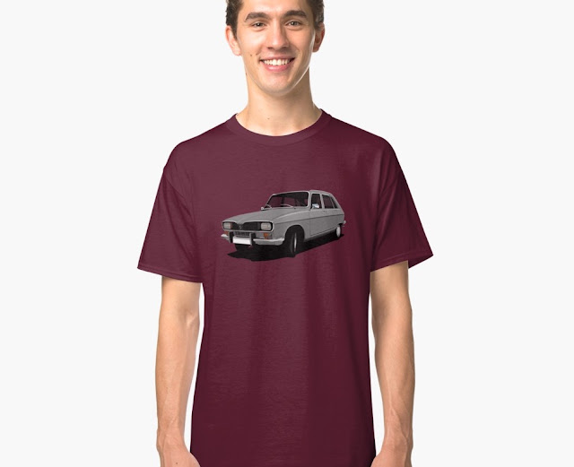 Gray Renault 16 TL - t-shirt - classic car from France