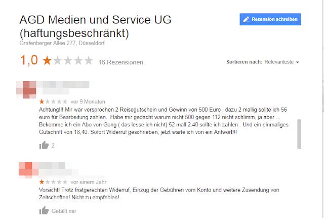 Screenshot: Screenshot Google Bewertung / AGD Medien und Service UG
