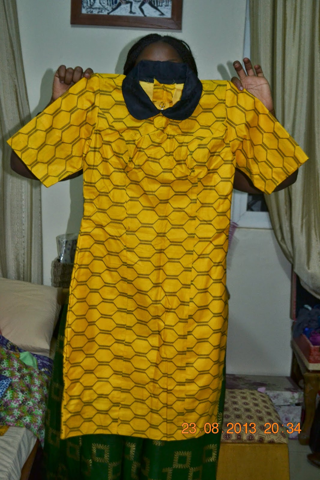 Yellow Ankara Dress with Peter Pan Collar