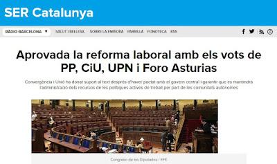 Aprovada la reforma laboral amb els vots de CiU
