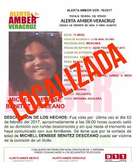 Desactivan 5 alerta amber en el Estado de Veracruz