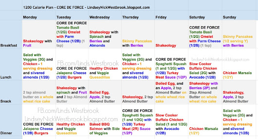 CORE DE FORCE - Meal Plan and Grocery List - Week 1