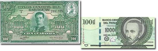 Dinheiro do mundo -Paraguai - Guarani