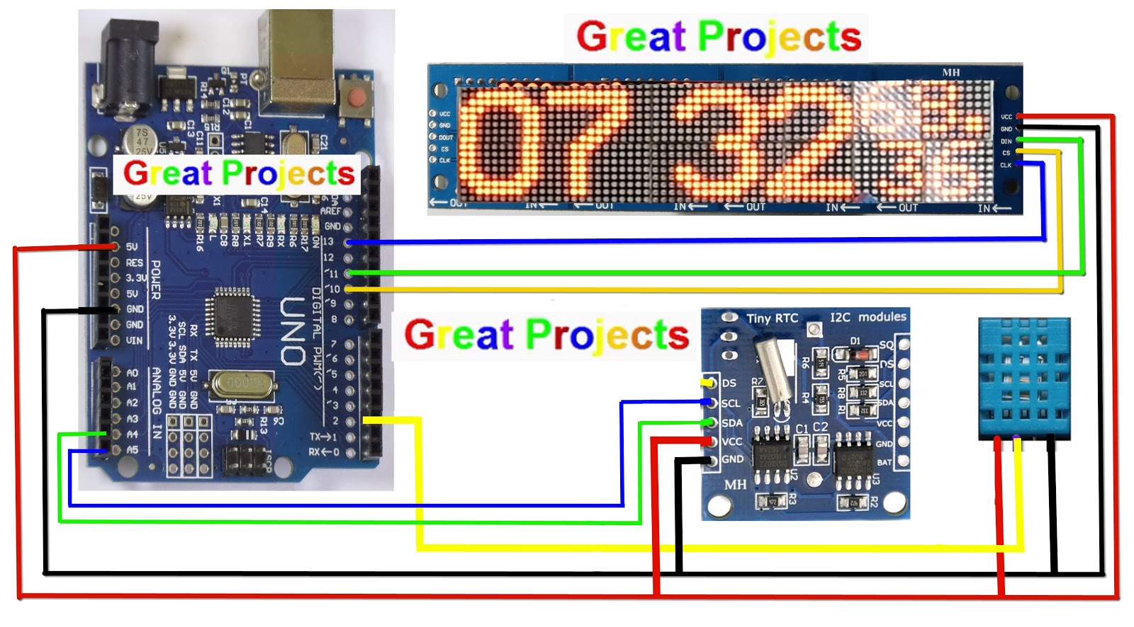 Great Projects: MAX7219 DHT11 DS1307 16x64 matrix clock Arduino