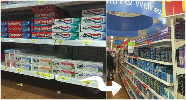 tom's of maine toothpaste location in walmart