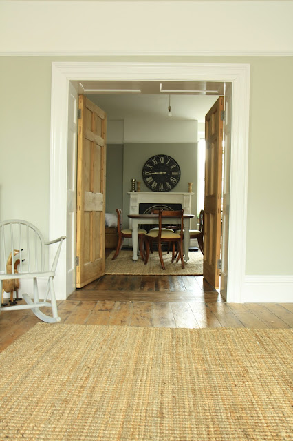 Farrow and Ball Hardwick White in our family room!