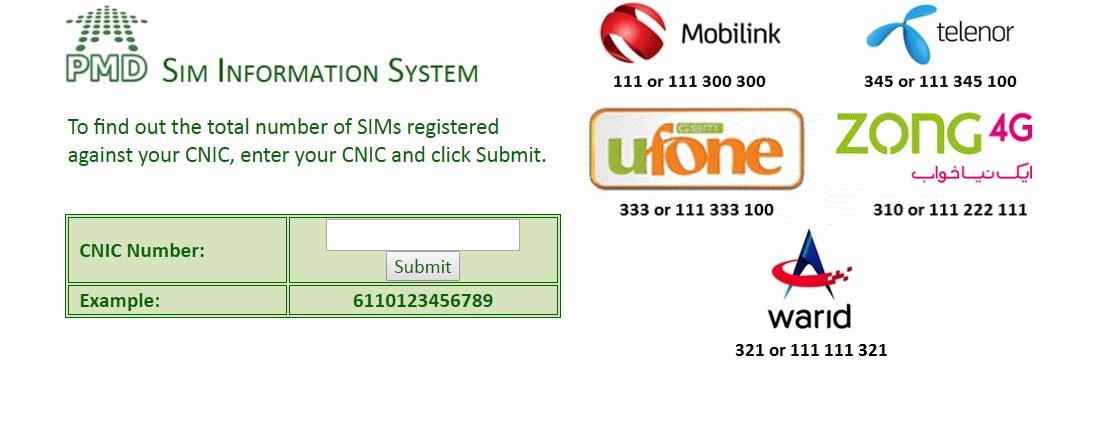 CNIC Sim Check 668