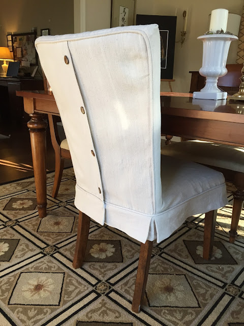 Pam Morris Sews Dropcloth Slipcovers For Leather Parsons