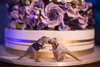 Epic Gold Dinosaur Wedding Cake Topper