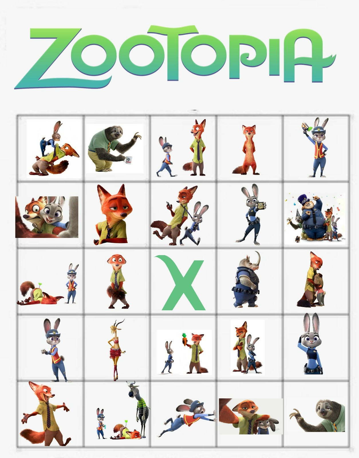 Musings of an Average Mom: Zootopia Bingo Cards
