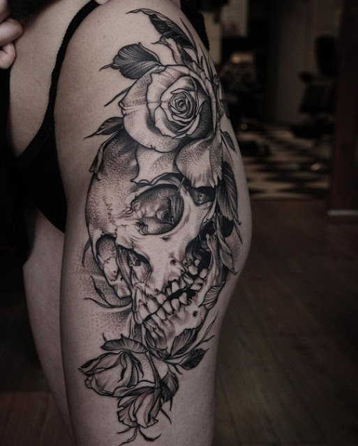 Sexy Skull & Flower Tattoos Ideas For Women