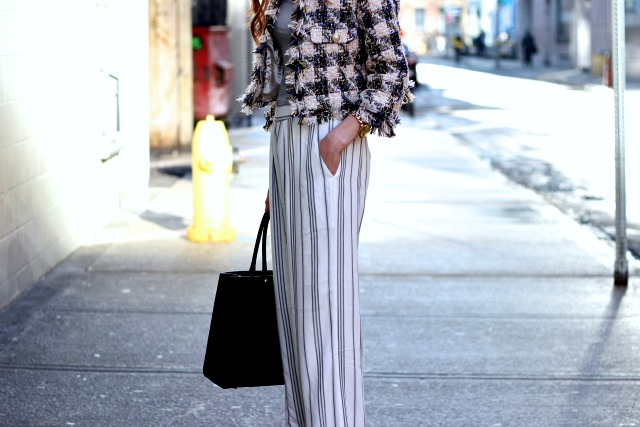 Gentle Fawn wide legged stripped pants, Toronto Fashion Week
