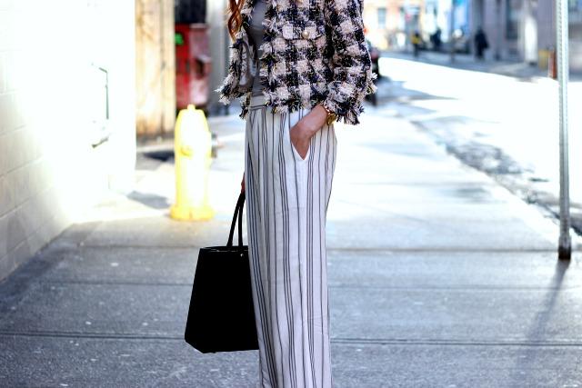 Gentle Fawn wide legged stripped pants, Toronto Fashion Week