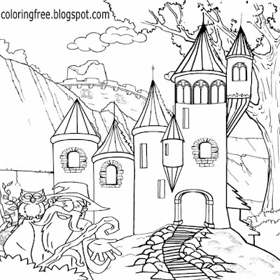 Supernatural castle wizard coloring free wonderful land of magical and mystical creatures drawings