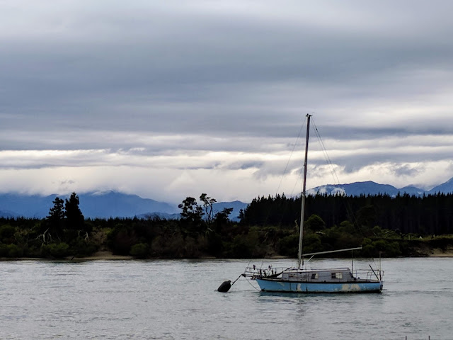 Boat on Tasman Bay near Mapua Wharf in New Zealand