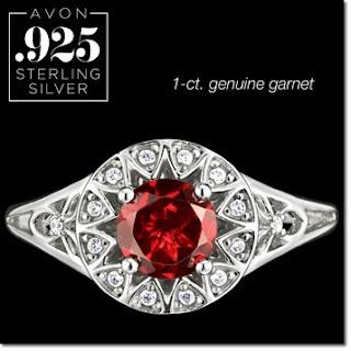 Sterling Silver Genuine Red Garnet Ring