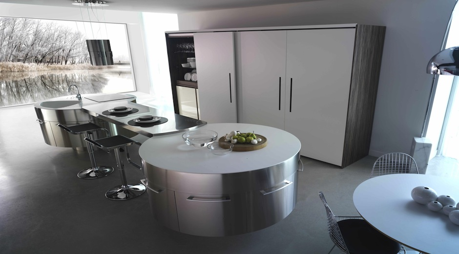 una isla circular para cocinar en compa a cocinas con estilo. Black Bedroom Furniture Sets. Home Design Ideas