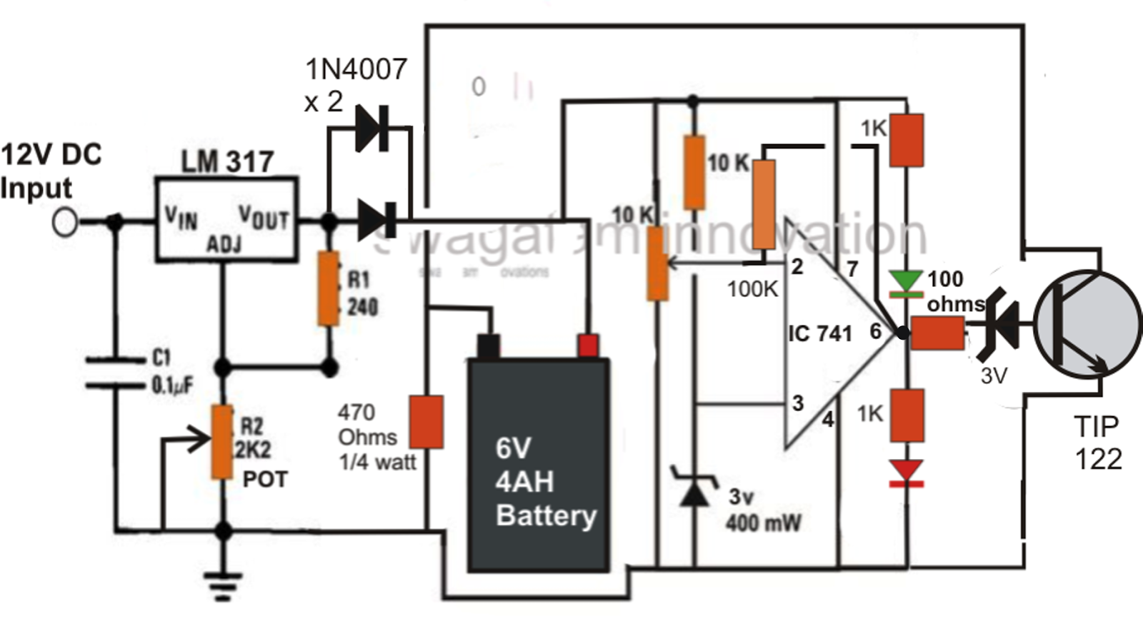 volt 4 to 10 ah battery charger circuit using a 12 volt relay
