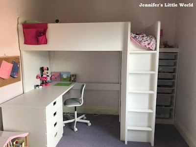 Ikea Stuva loft bed in girl's bedroom