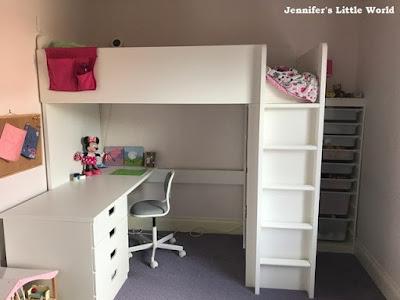 Ikea Stuva loft bed in girl's bedroom