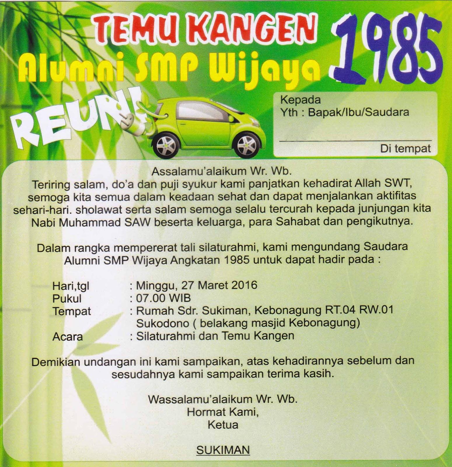Undangan Reuni Alumni Smp Wijaya Sukodono Tahun 1985