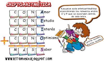 Alfamética, Criptoaritmética, Criptosuma, Alfametica de regreso a clases, Alfamética de vuelta al colegio, Juego de letras, Juego de palabras