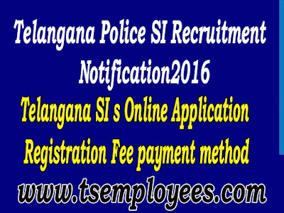 Telangana Sub Inspector of Police Online Application Registration Fee Process TS TG Police SI s Online application fee and method to pay Telangana Police notification 2016 Recruitment for TS SI Online Application Registration fee for OCs/BCs Rs.500/- SC/ST Rs.250/- ts si recruitment for 10 posts and 29 posts total 539 posts these applications are mode of payment how to pay online application fee for Stipendiary Cadet Trainee (SCT) Sub Inspectors of Police Civil Men in Police Department Recruitment Notification 2016 at AR / SAR CPL / APSP/ SPF / Station Fire Officers (SFO) Man or Women Posts Communications transport Telangana Police SI Notification 2016 released today officially from Telangana State Level Police Recruitment Board (TSLPRB). Applications are invited through online mode only from the official site, www.tslprb.in Telangana State Level Police Recruitment Board has published the latest TSLPRB SI Notification 2016. Applications are invited from interested and eligible candidates for Sub Inspector of Police in Hyderabad, Telangana. Eligible candidates can apply through online mode only from the official website. Telangana Sub Inspector of Police Online Application Registration Fee. Telangana Sub Inspector of Police Online Application Registration Fee how to pay for the job of SI