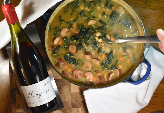 White bean stew with Sausages and Kale with Marcel Lapierre Morgon.