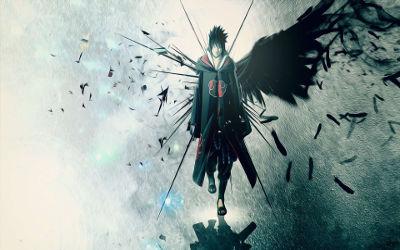 Naruto - Sasuke Uchiha Plumes Noires - Fond d'écran en Full HD 1080p
