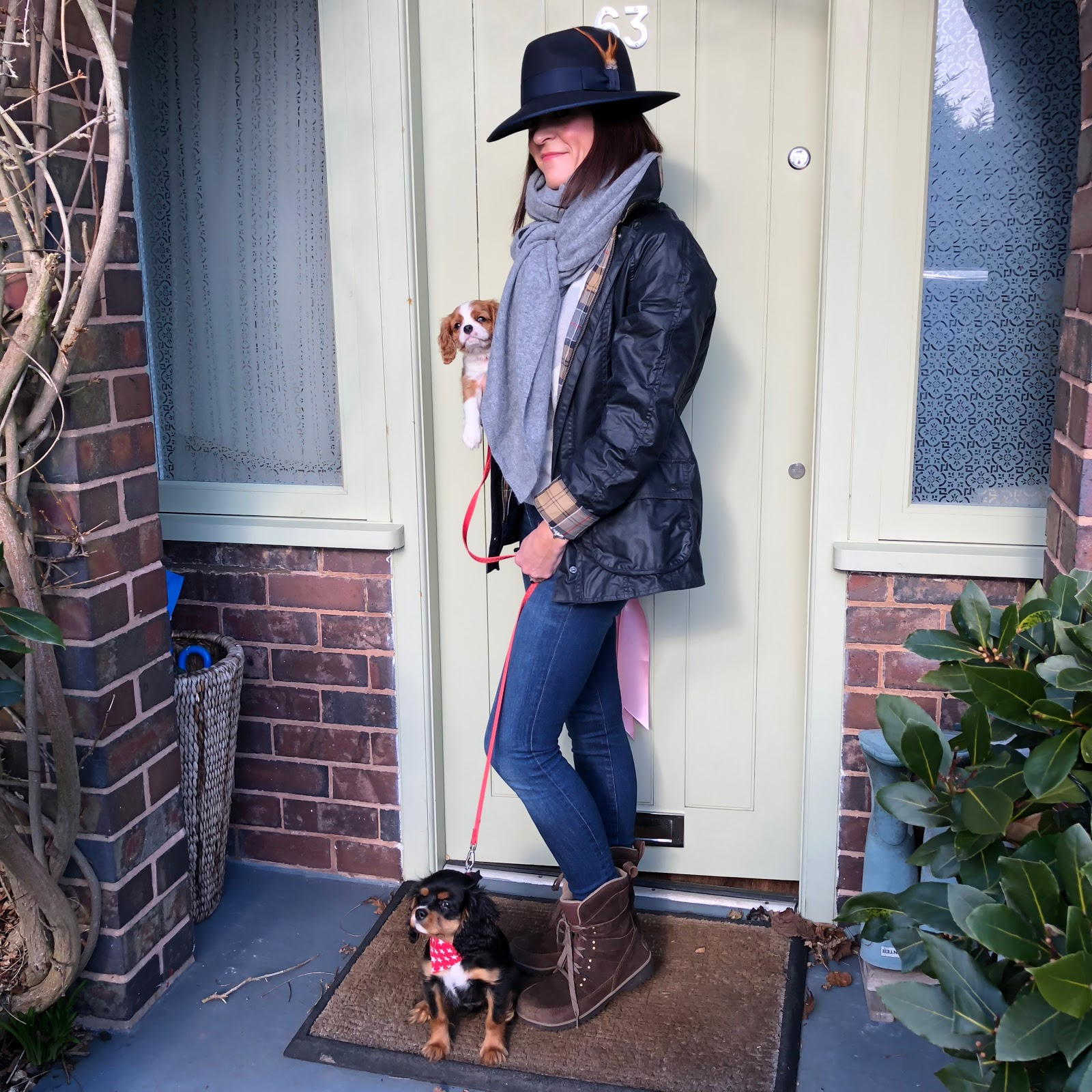 "my midlife fashion, house of fraser barbour beadnell waxed jacket, hawes and curtis navy madison fedora hat, marks and spencer pure cashmere star crew neck jumper, j crew 8"" toothpick jeans, sorel womens meadow lace waterproof boots"