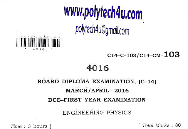 POLYTECHNIC ENGINEERING PHYSICS C-14 QUESTION PAPER 2016