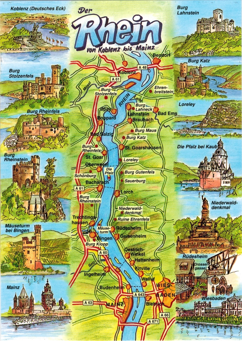 Map Cards Hunting 0179 Germany River Rhine