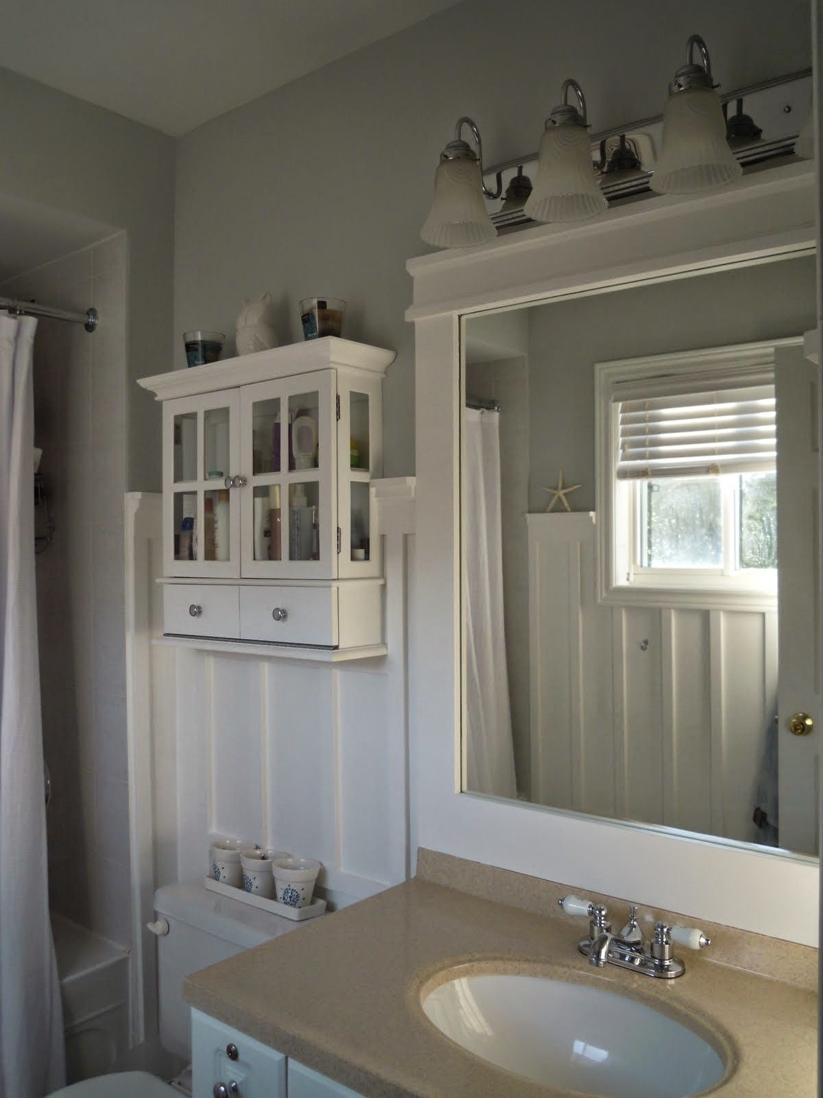 One More Little Bathroom With The Board And Batten All Crisp Trim Around Mirror I Addeda Bit Of White Paint Go A Long