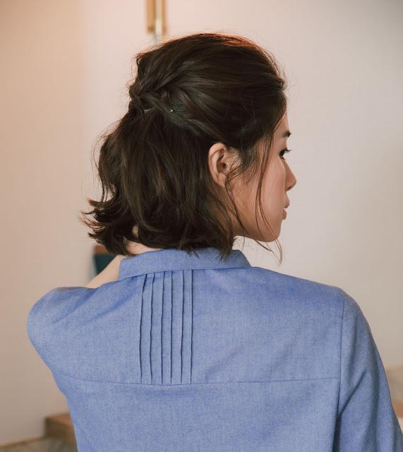 林間湖畔短袖襯衫-藍湖